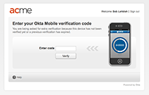 Multifactor Authentication - Okta soft token with code and timer