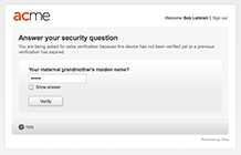 Multifactor Authentication - Security question