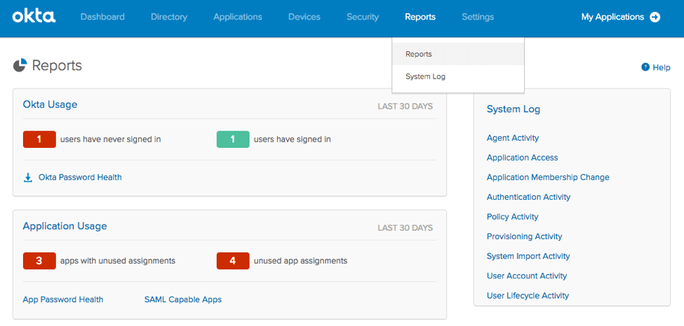 Okta System Log Reports