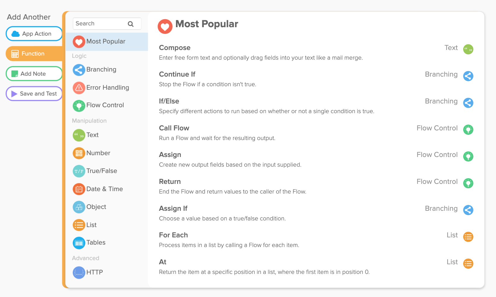 Workflows most popular functions