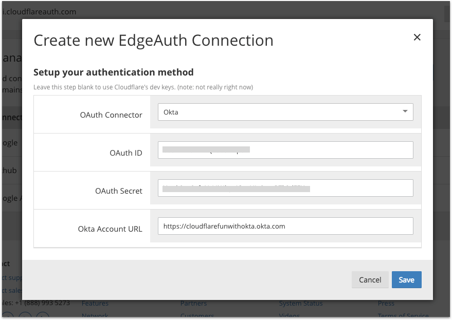 Create New EdgeAuth Connection