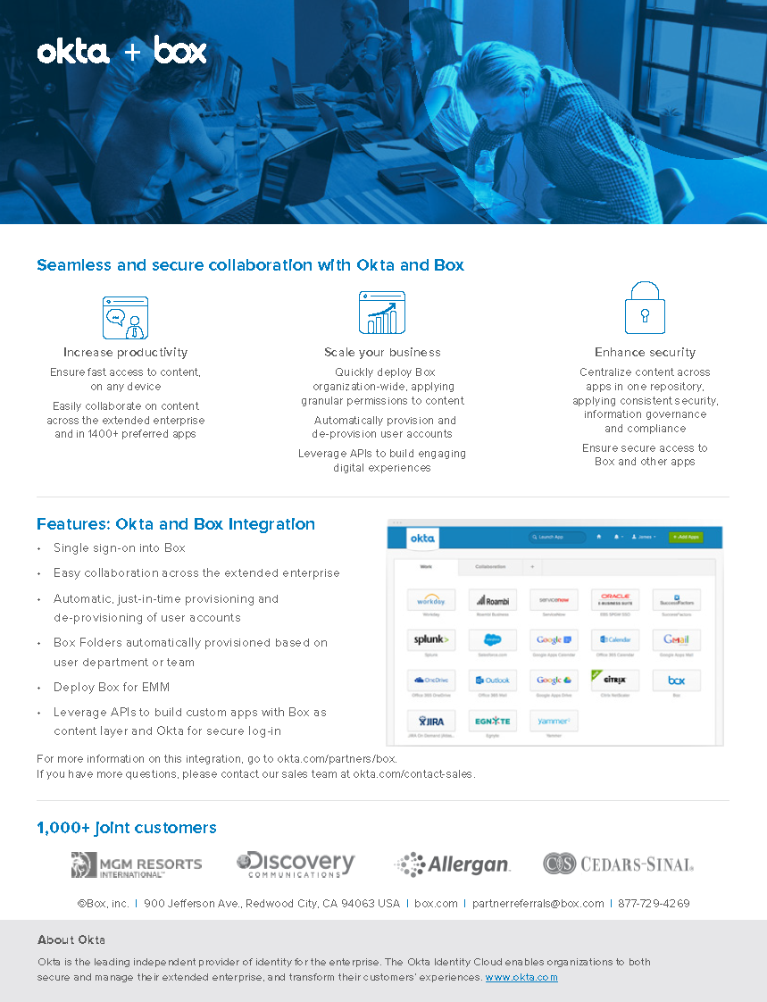 Seamless and secure collaboration with Okta and Box.