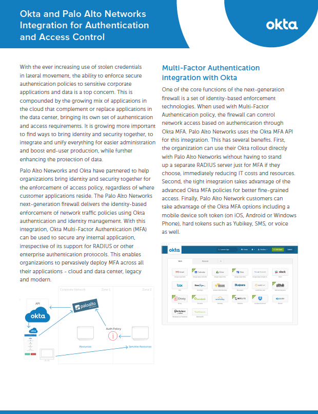 Okta and Palo Alto Networks Integration for Authentication and Access Control