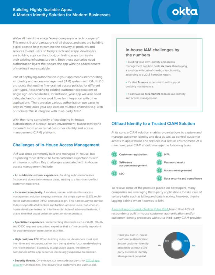 Read this datasheet on building highly scalable apps with Okta.