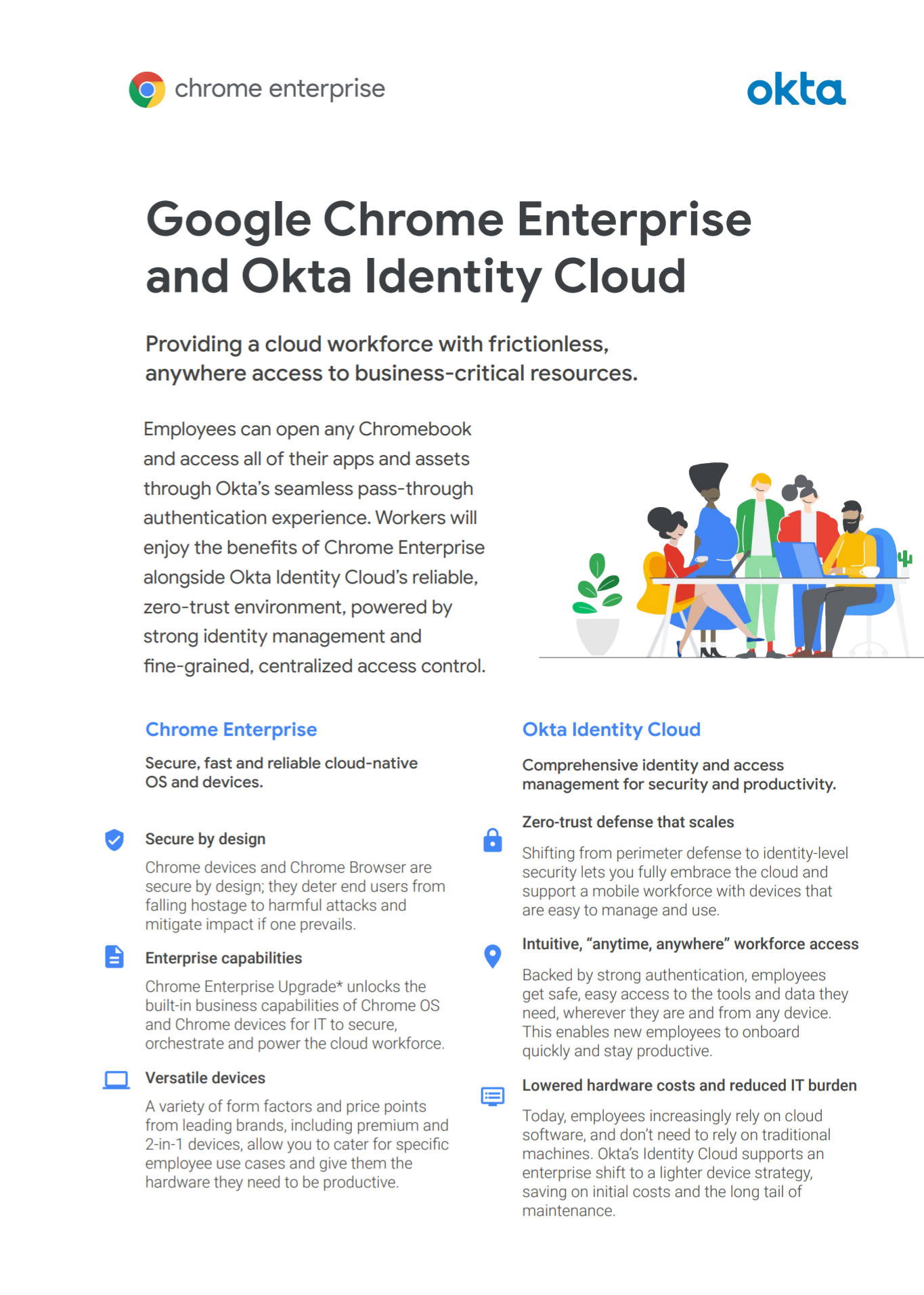 Okta and Chrome Enterprise provide a cloud workforce with frictionless, anywhere access to business-critical resources.