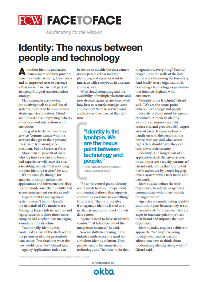 Identity: The nexus between people and technology.