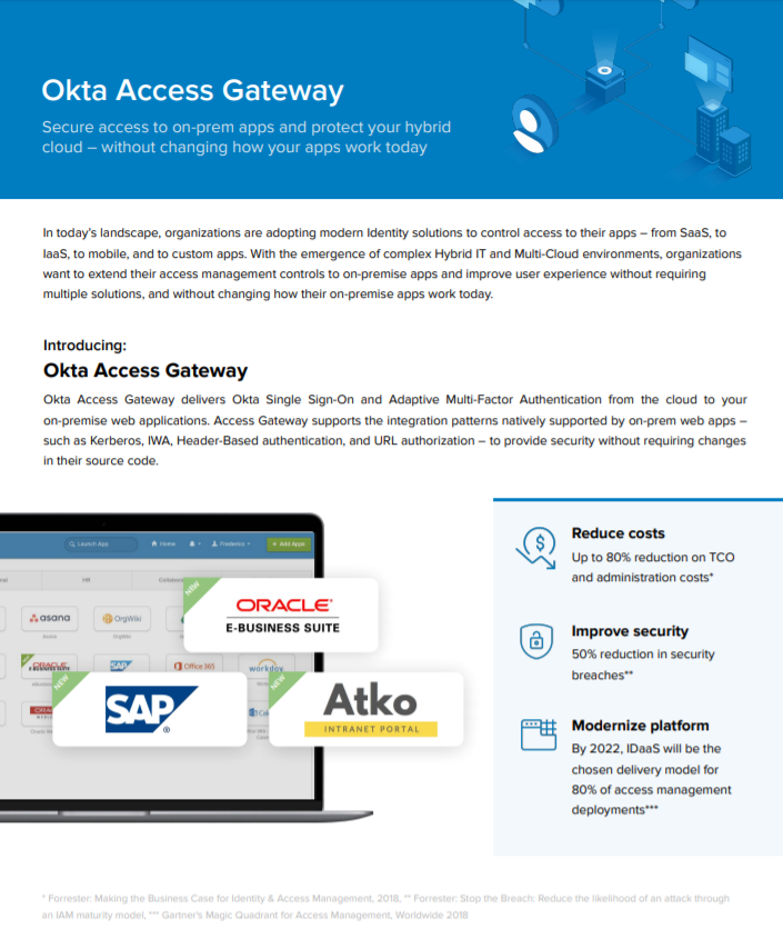 Secure access to on-prem apps and protect your hybrid cloud with Okta Access Gateway.