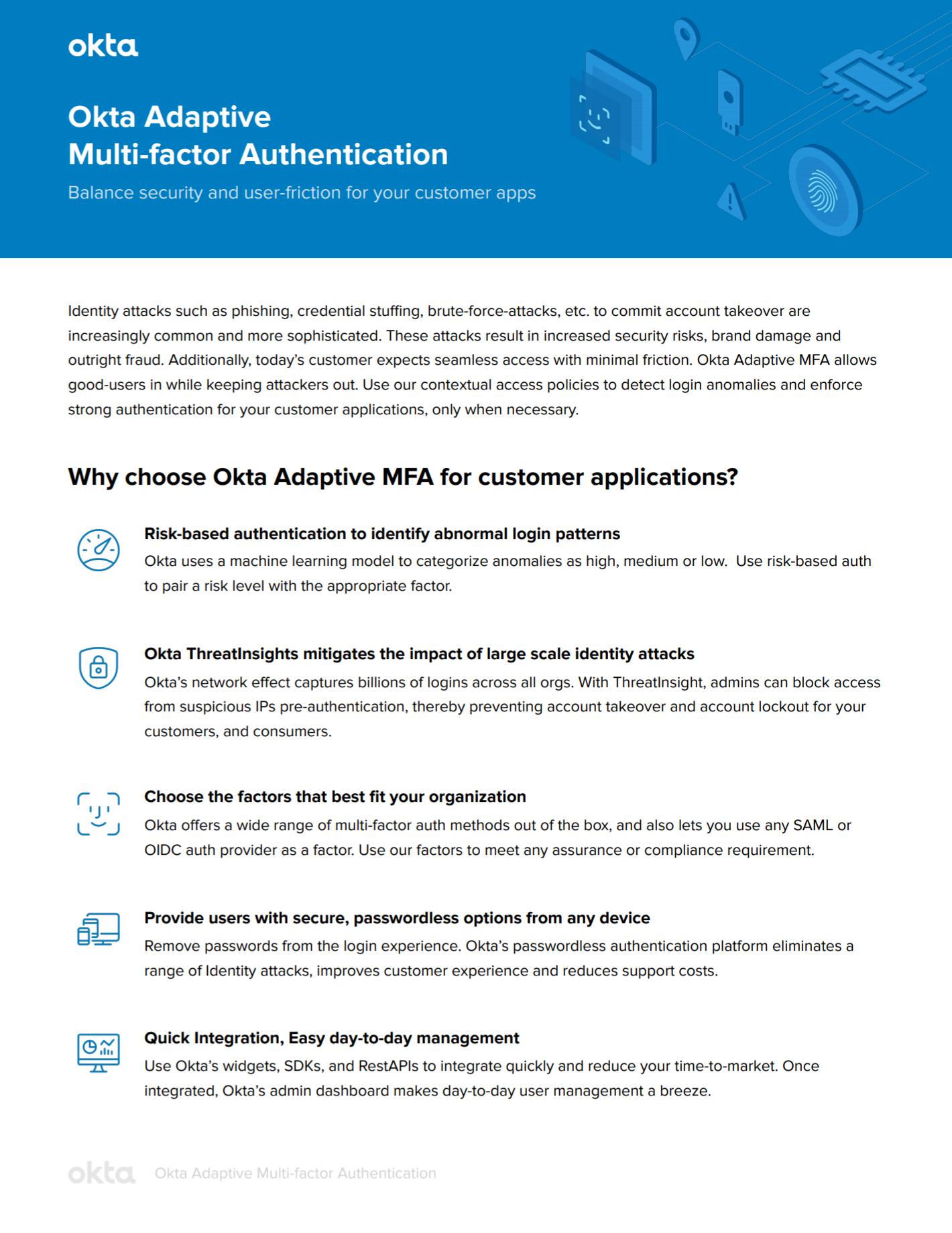 Okta Adaptive Multi-factor Authentication.