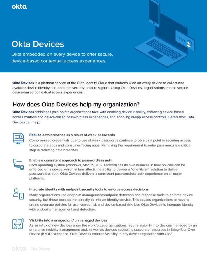 Okta Devices Datasheet.