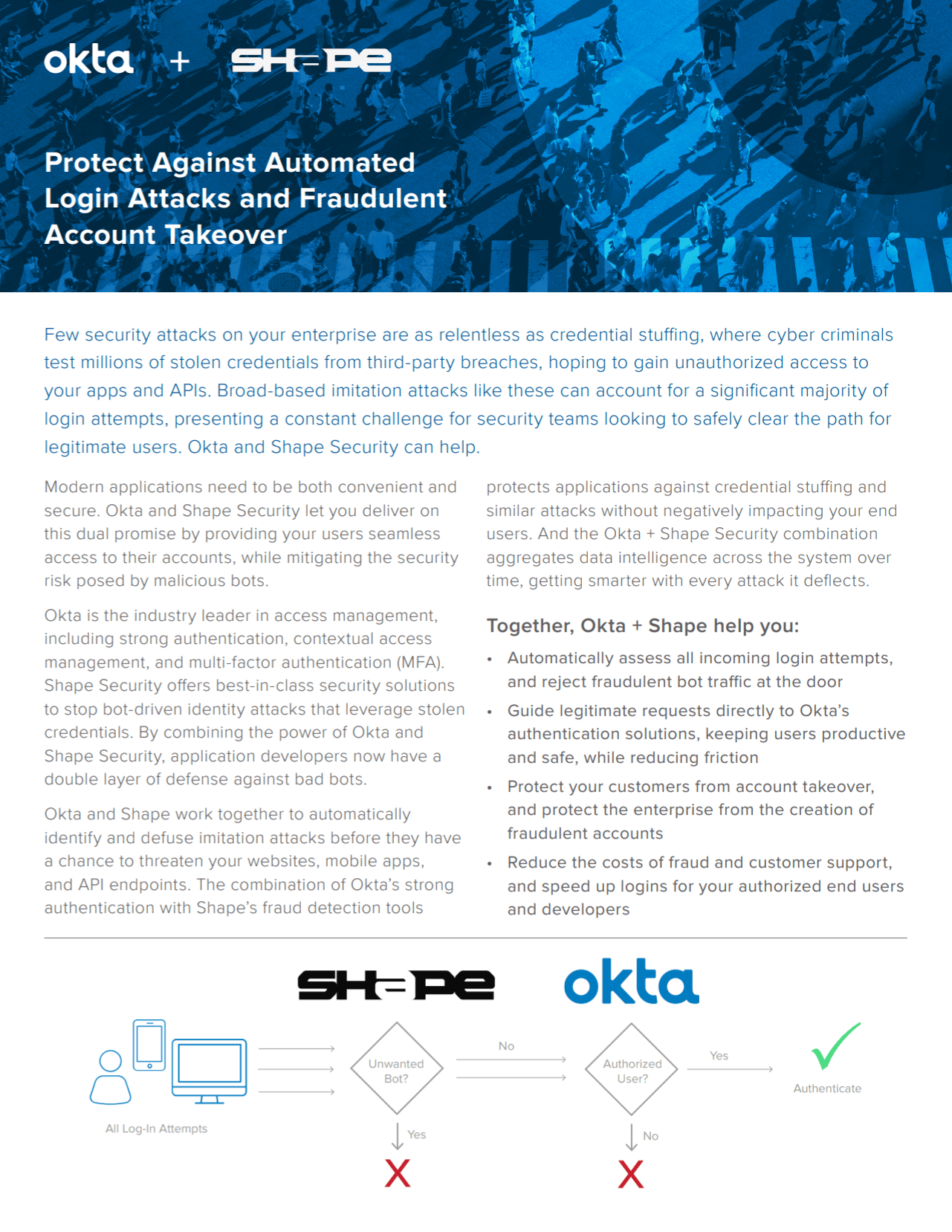 Okta and Shape Security help protect against automated login attacks.