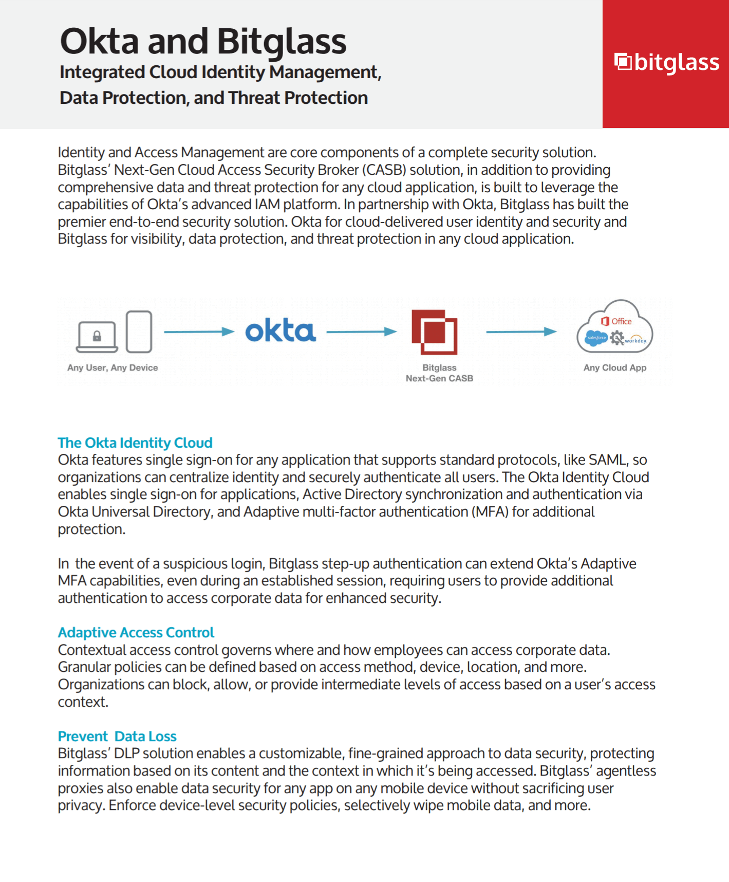 Okta and Bitglass Identity Management and Data and Threat Protection.