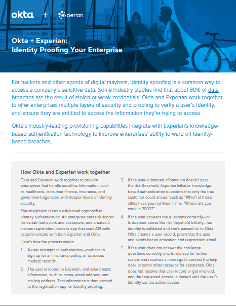 Okta + Experian: Identity Proofing Your Enterprise
