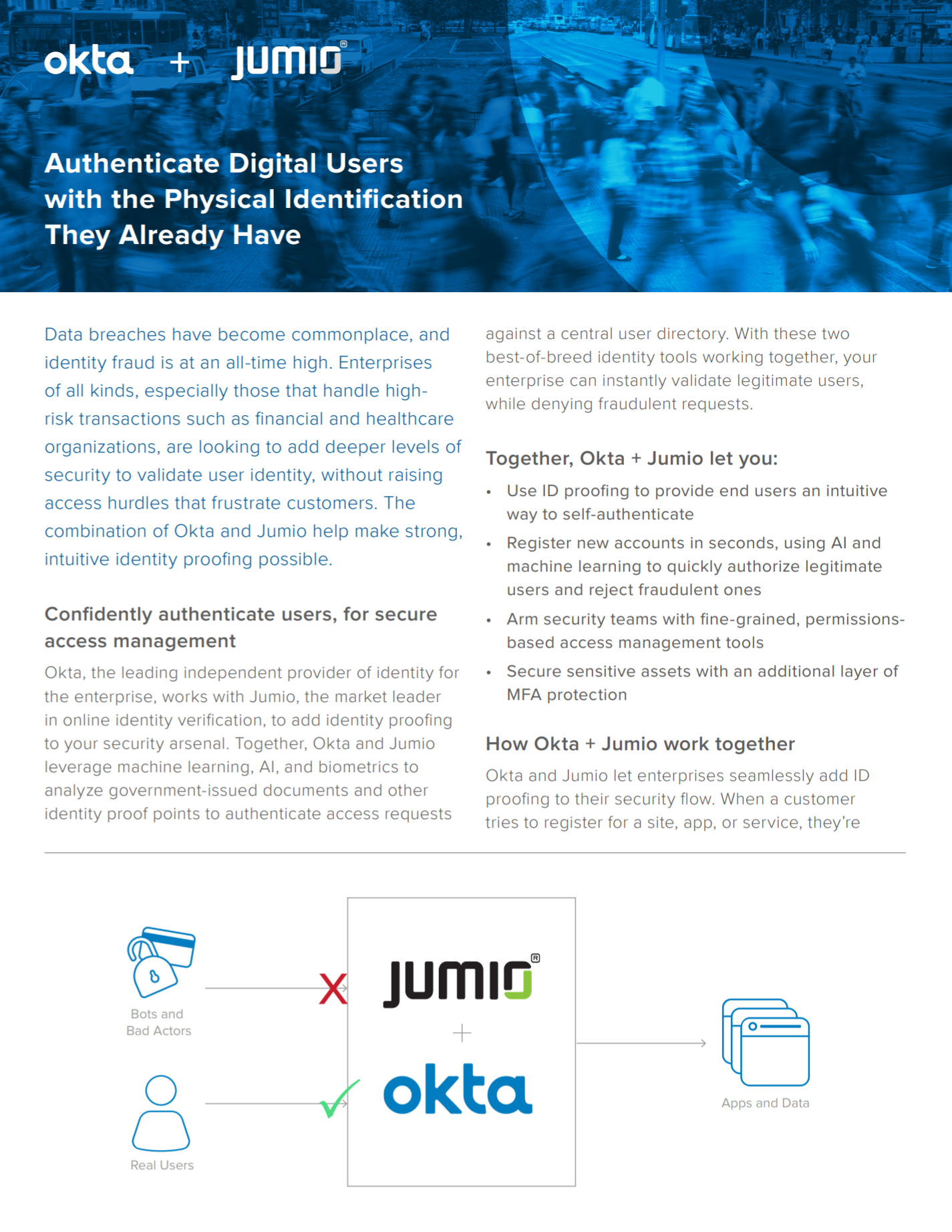 Authenticate digital users with Okta and Jumio.