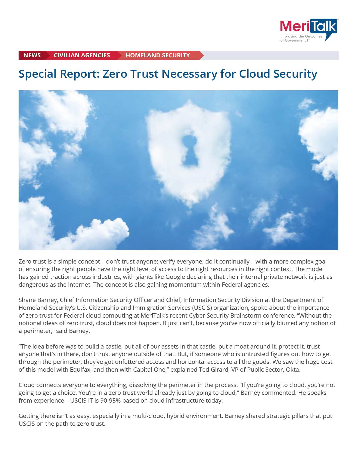 Special Report: Zero Trust Necessary for Cloud Security.