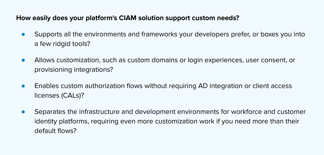 CIAM solution questions
