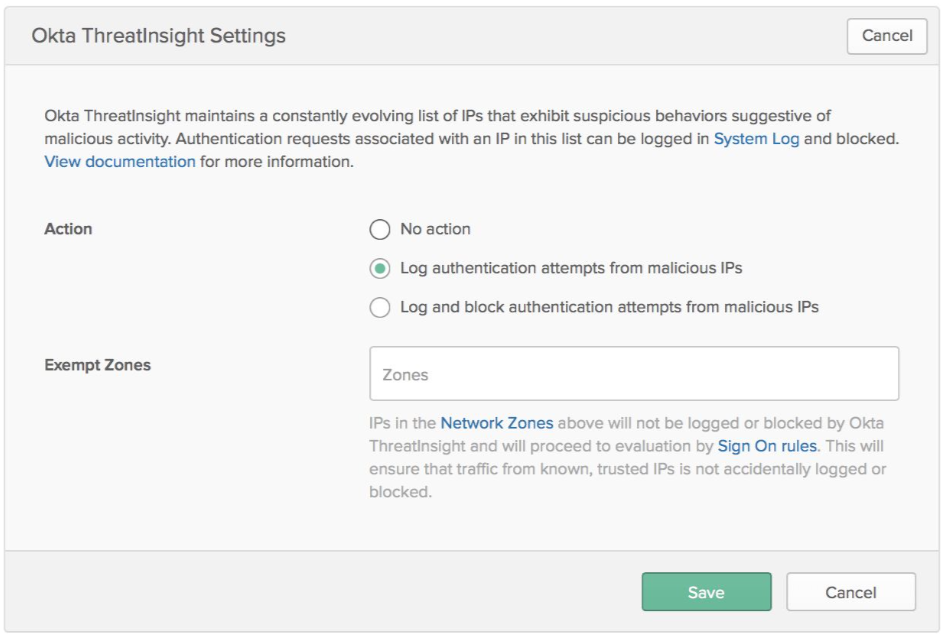 Okta ThreatInsight Admin Settings