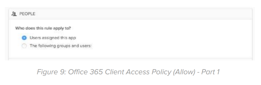 Figure 9: Office 365 Client Access Policy (Allow) - Part 1.