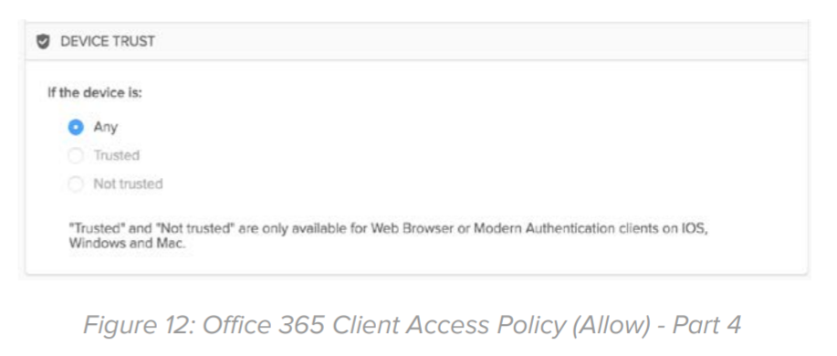 Figure 12: Office 365 Client Access Policy (Allow) - Part 4.