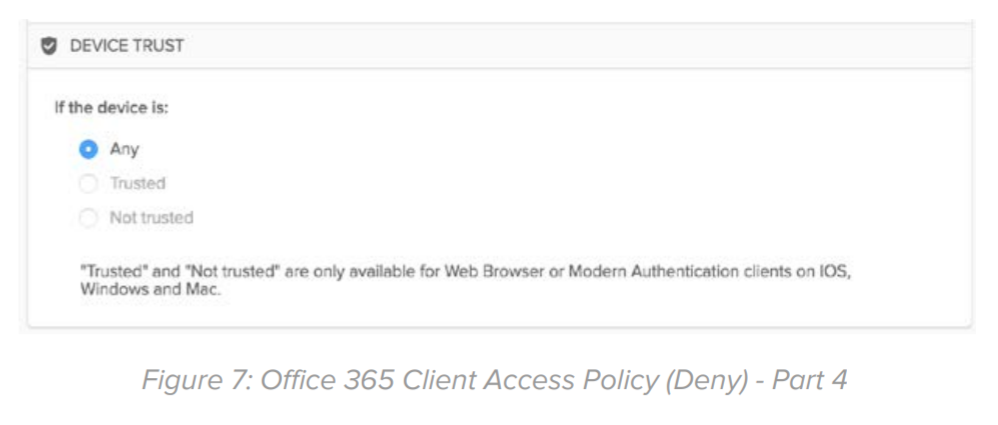 Figure 7: Office 365 Client Access Policy (Deny) - Part 4.