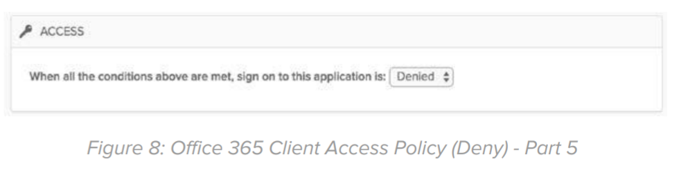 Figure 8: Office 365 Client Access Policy (Deny) - Part 5.