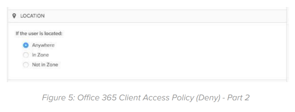 Figure 5: Office 365 Client Access Policy (Deny) - Part 2.