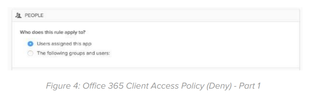 Figure 4: Office 365 Client Access Policy (Deny) - Part 1.