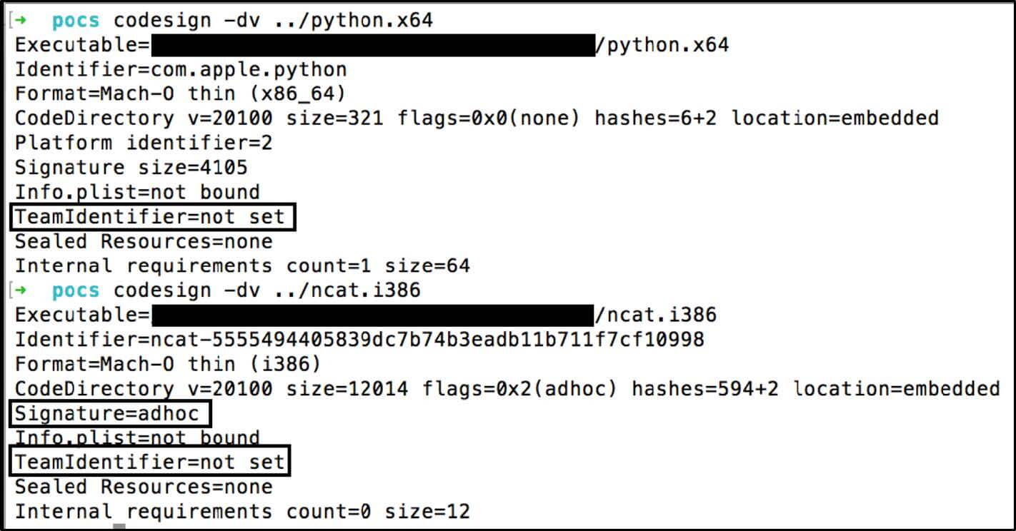 valid Apple signed Mach-O (python.x64) vs an adhoc signed Mach-O (ncat.i386) where both `TeamIdentifier=not set`