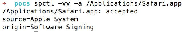 Normal output from a valid Apple signed application bundle