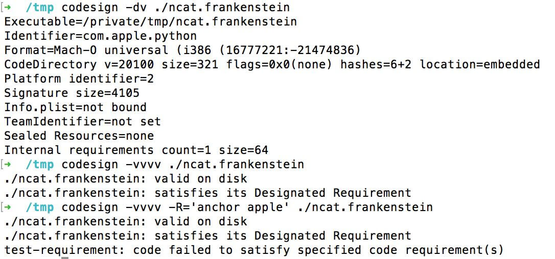 Apple's 'codesign' tool and why one should use the requirements flag (-R)
