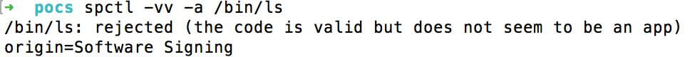 a valid Apple Signed Mach-O binary /bin/ls and Safari returns the following