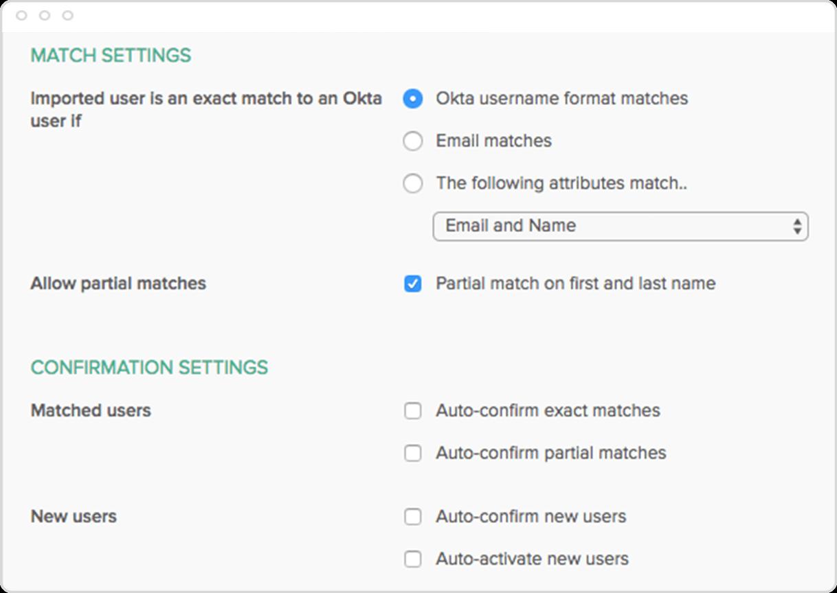 Okta Customer Identity User Management Import Matching Rules