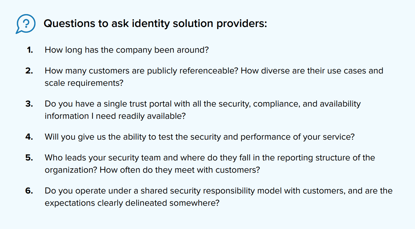 Questions to ask identity solution providers
