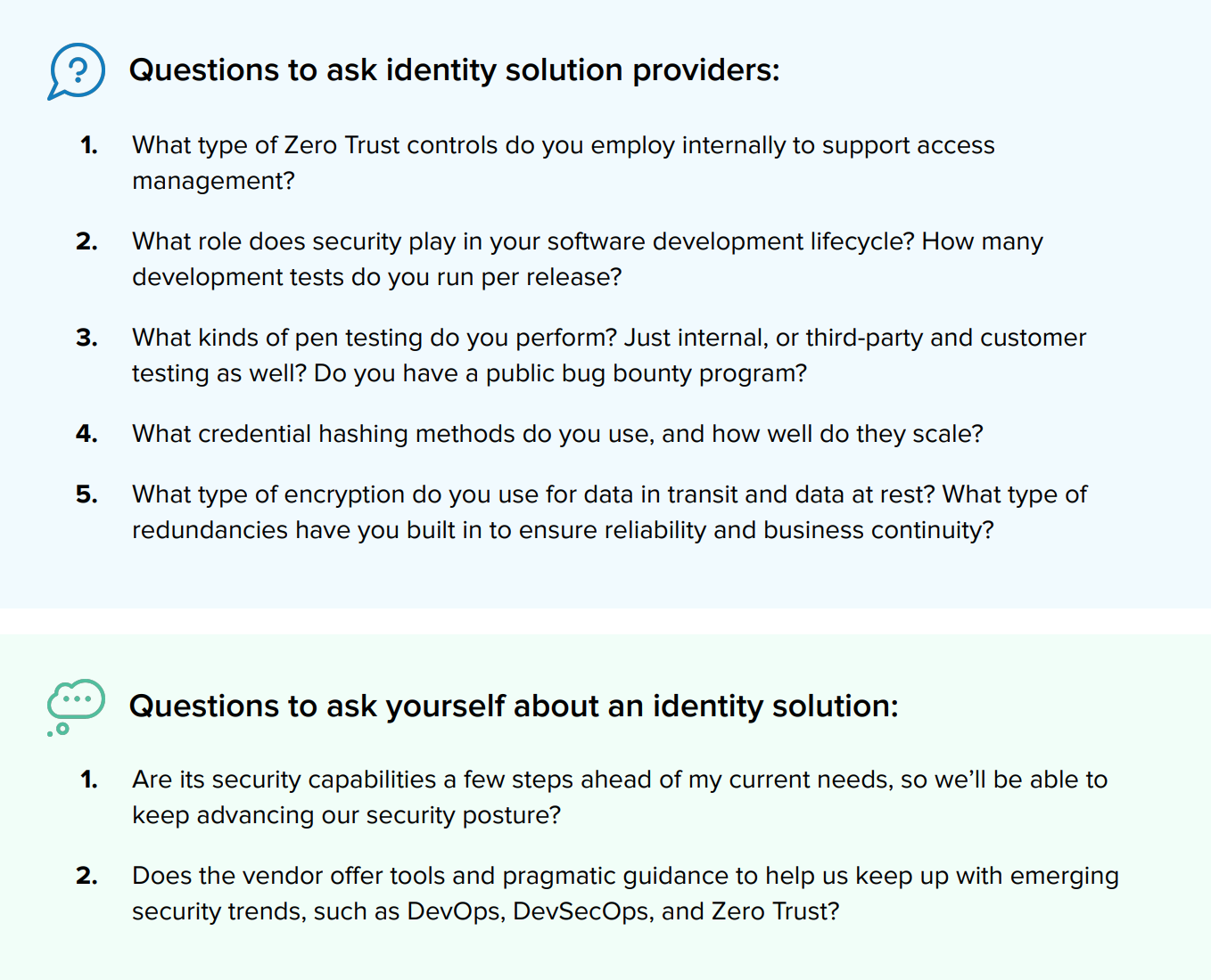 Identity Solution Questions